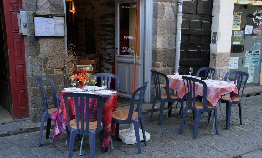 cafes, restaurants, chairs, tables, Rennes, France