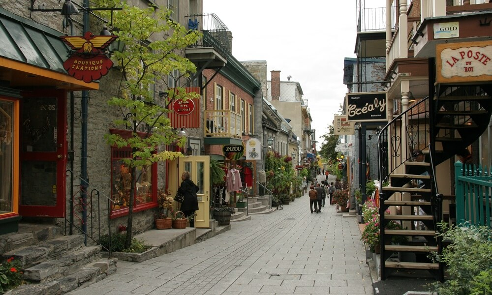 A street scene on rue Petite Champlain in Quebec City, Canada