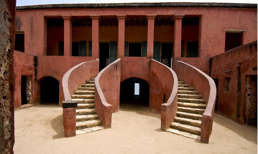 Horseshoe-shaped staircase to a slave house on Goree Island in Senegal
