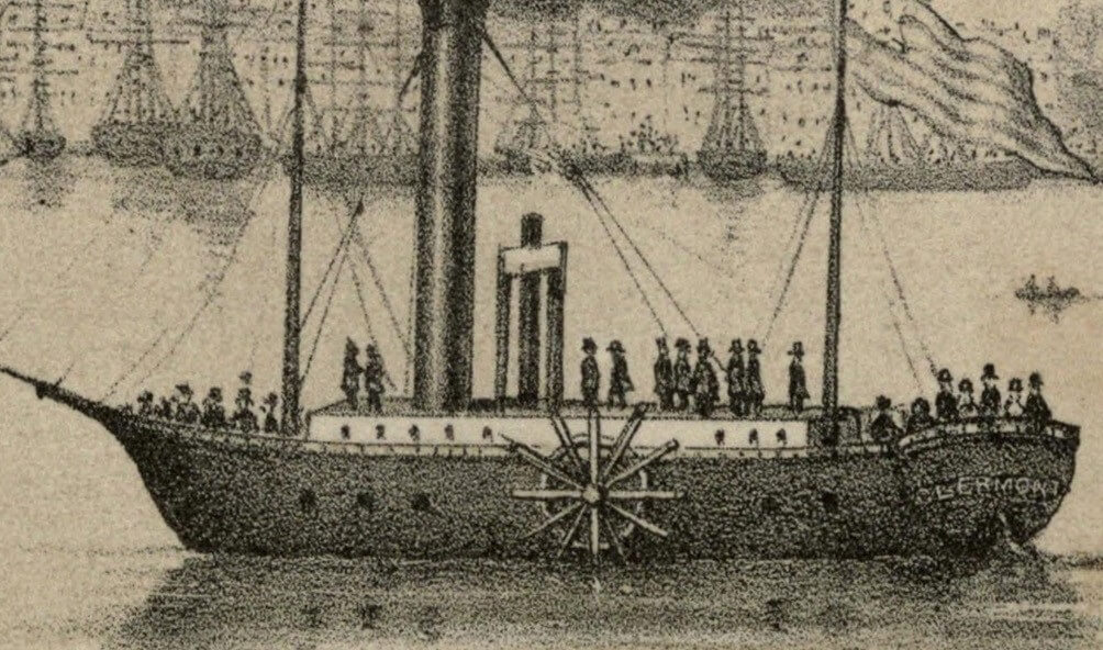 The Clermont, Robert Fulton's first steamship starting its first New York to Albany voyage