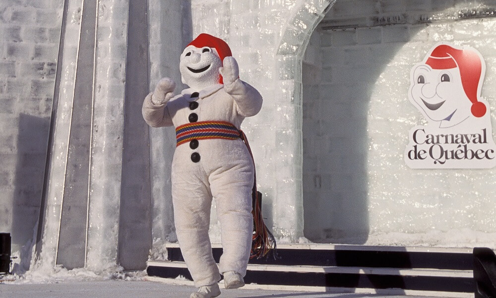 Bonhomme snowman character at Winter Carnival in Quebec City, Quebec, Canada