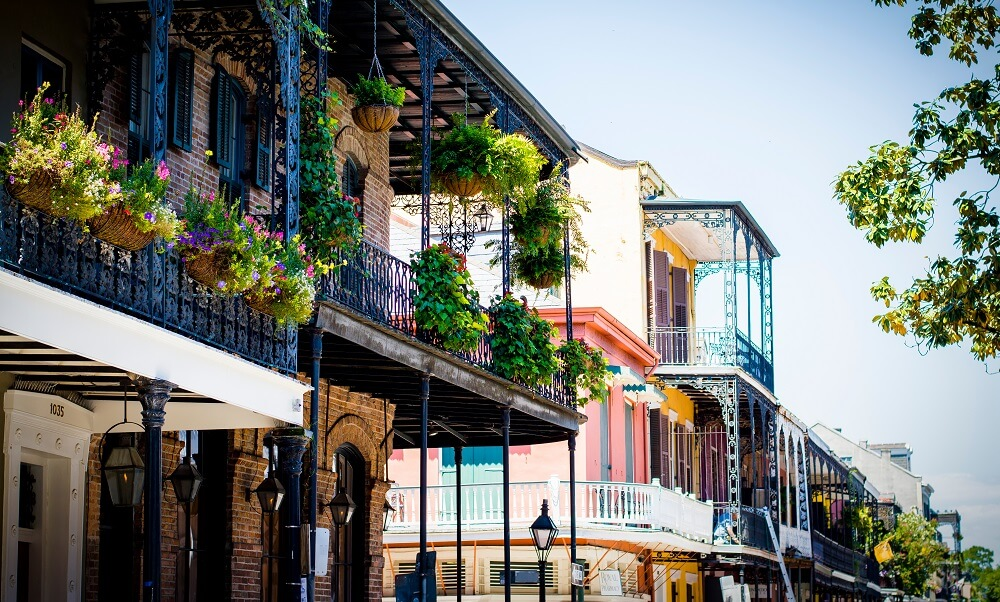 Potted Plants In Balcony Of Building At French Quarter, New Orleans