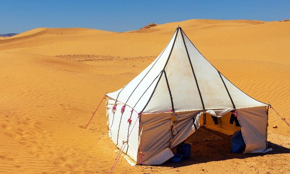 White Tuareg tent in the desert Erg Cheb Morocco Africa