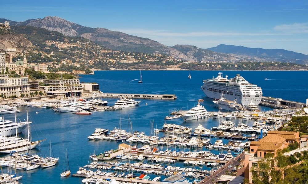 Panoramic view of Fontvieille harbour, Monaco