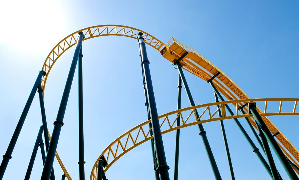 Roller coaster against the sky