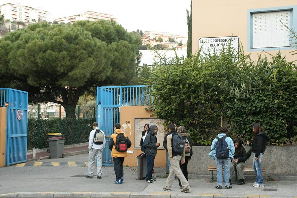 An entrance to a school in Nice, France