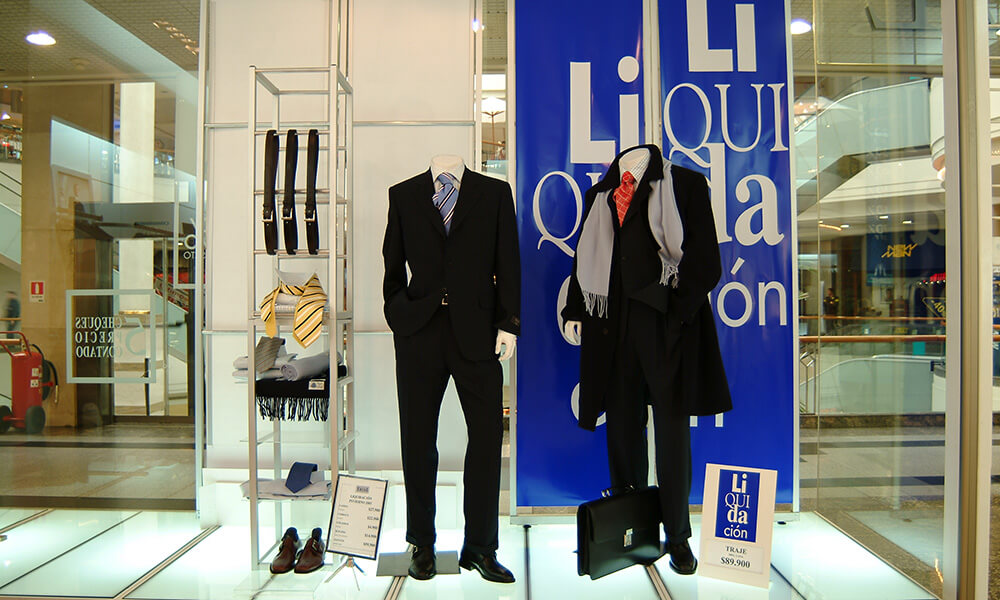 Shop window with men's suits