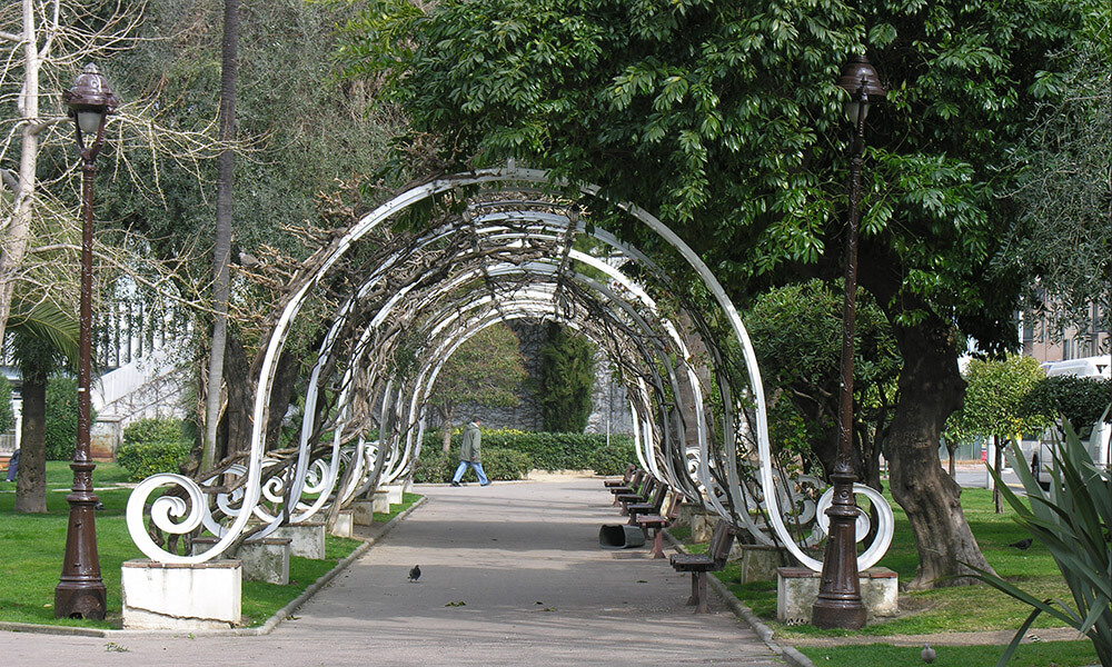Arched walkways in a park, Nice, France