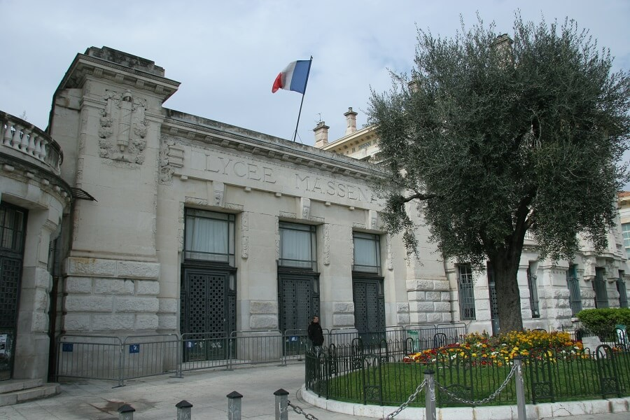 Massena High School building in Nice, France