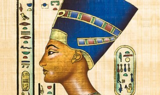 A piece of a papyrus scroll showing Egyptian hieroglyphs and an ancient Egyptian queen wearing a tall blue head-dress.