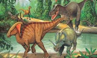 A drawing of a group of dinosaurs crossing a river in an ancient jungle.