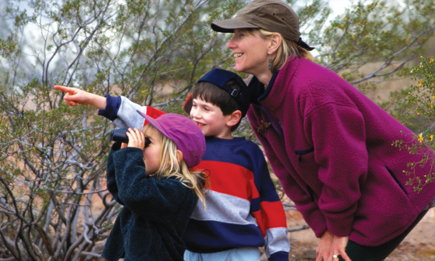 A girl looks through binoculars while her brother points out something to their mother.