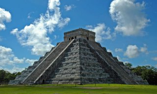 View of Ancient Mayan Pyramid at Chichen Itza, Mexico