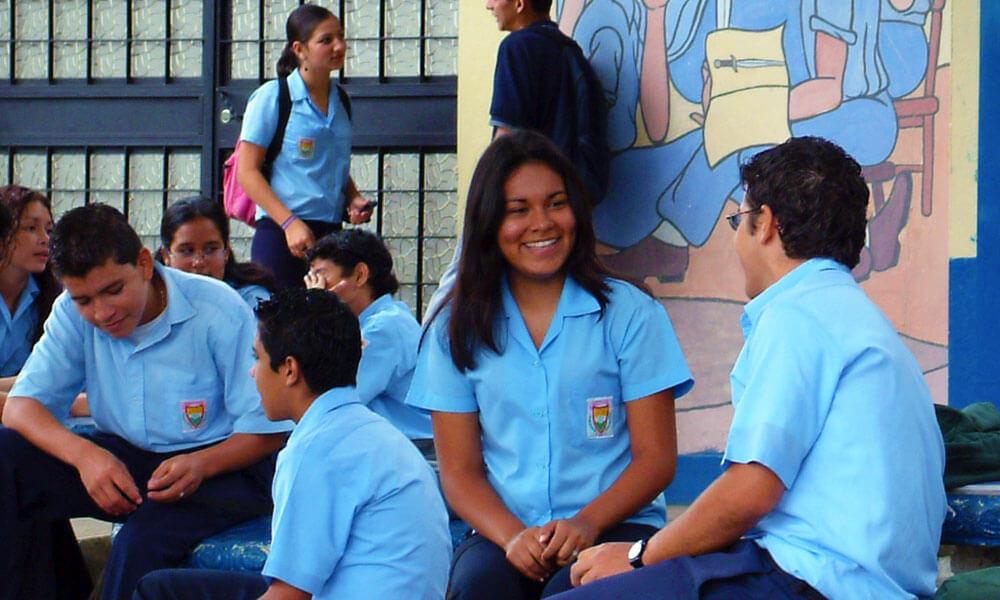 Teens in schoolyard, Costa Rica