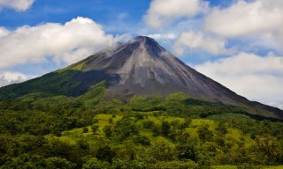 Volcano Arenal in Costa Rica on a partly cloudy day