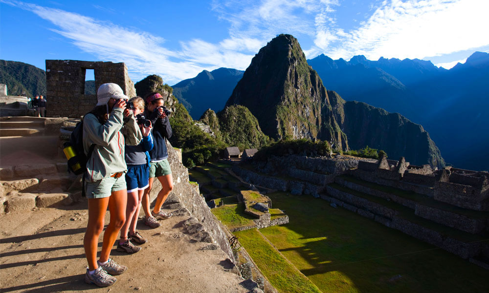 Students taking pictures of the ruins at Machu Picchu