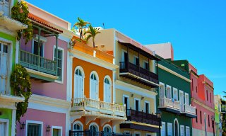 Row of colorful pastel painted buildings in Old San Juan, Puerto Rico