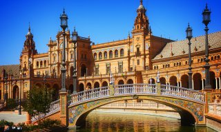 Bridge of Plaza de Espana, Seville, Spain