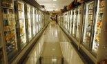 Frozen food aisle in grocery store