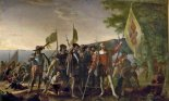 Painting of Christopher Columbus landing in the West Indies, on an island that the natives called Guanahani and he named San Salvador, on October 12, 1492.