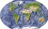 World map, shaded relief with shaded ocean floor.