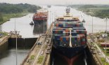 Cargo ship in the Panama Canal at Gatun Locks on the Atlantic side, heading west towards the Pacific
