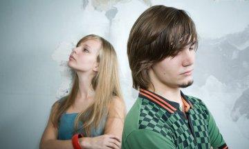 teen couple quarrelling