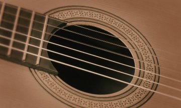 Acoustic guitar detail: fretboard, strings, and soundhole