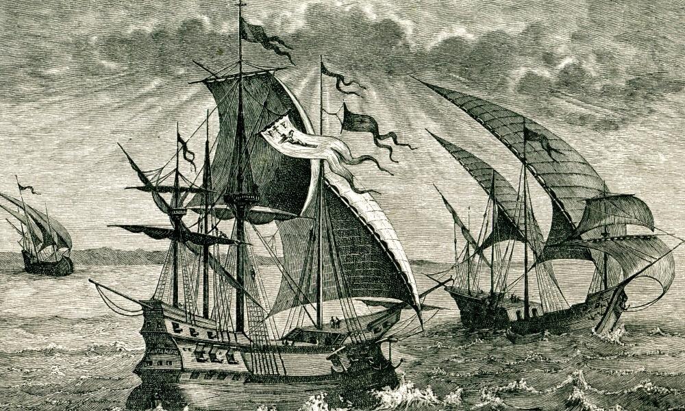 Engraving of Nina, Pinta, and Santa Maria, Columbus' ships