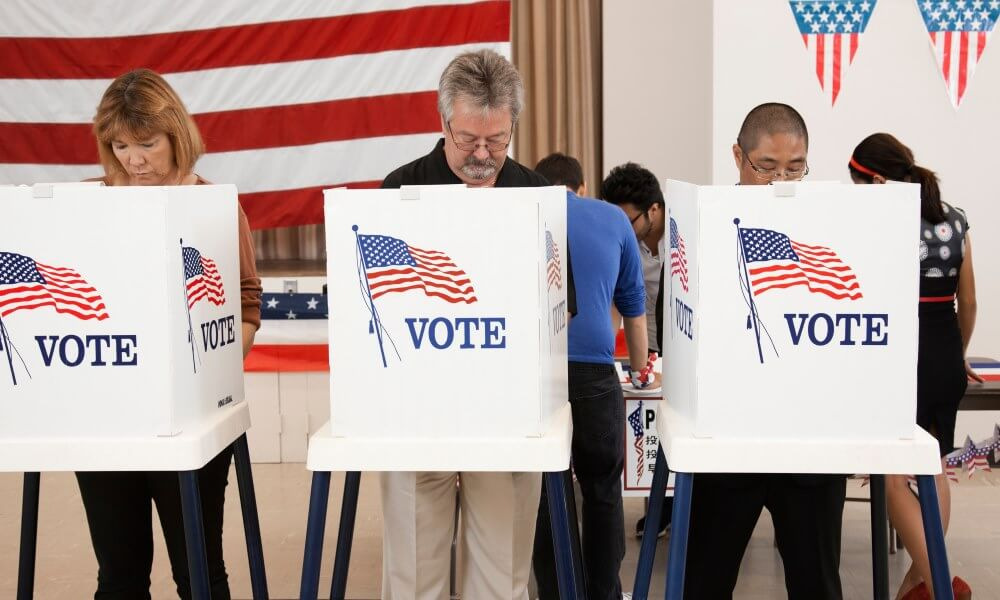 People voting in a polling place, USA