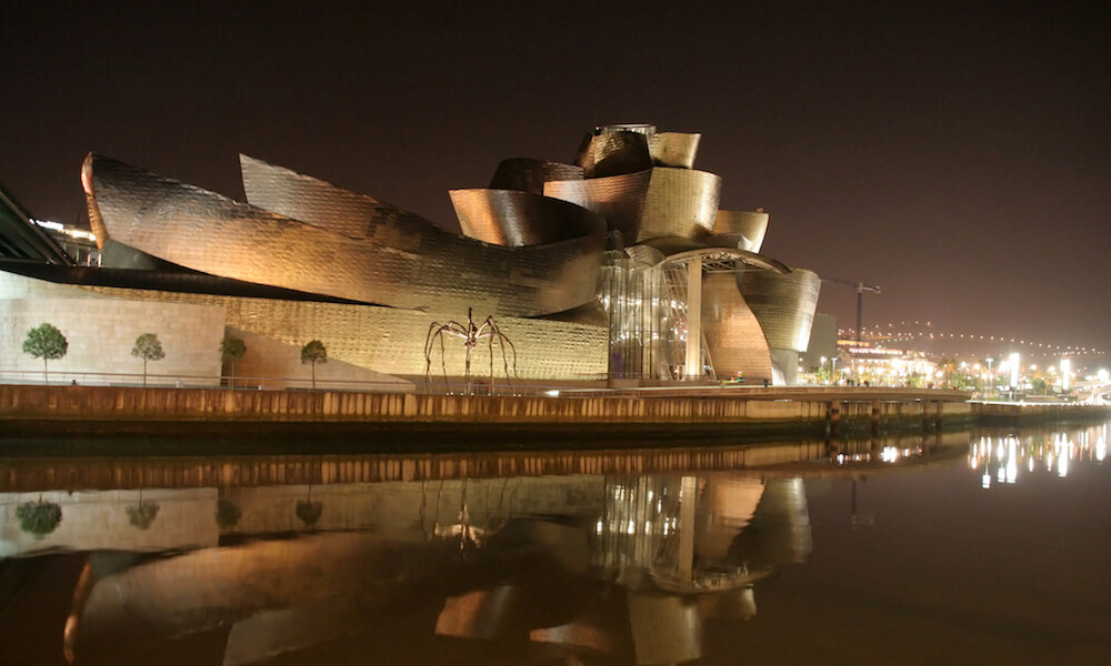 Guggenheim museum by night, Bilbao, Spain