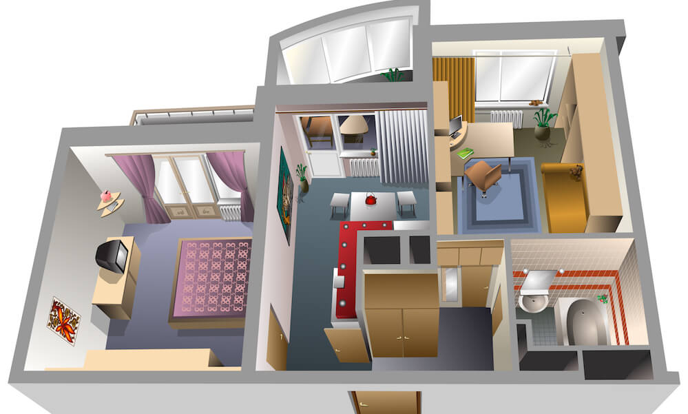 Top view of an apartment interior with no roof
