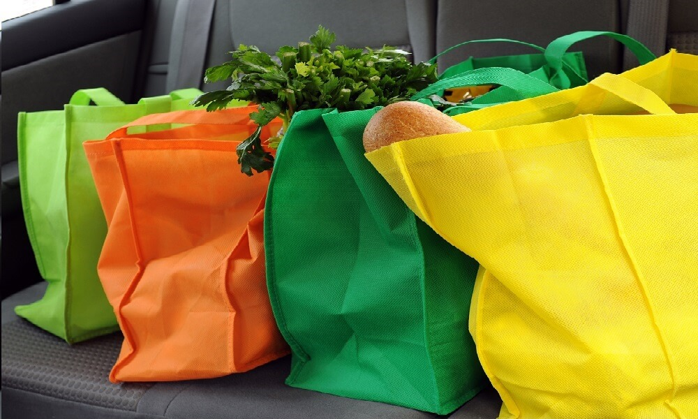 Four colorful eco-friendly shopping bags with groceries in the back seat of a car