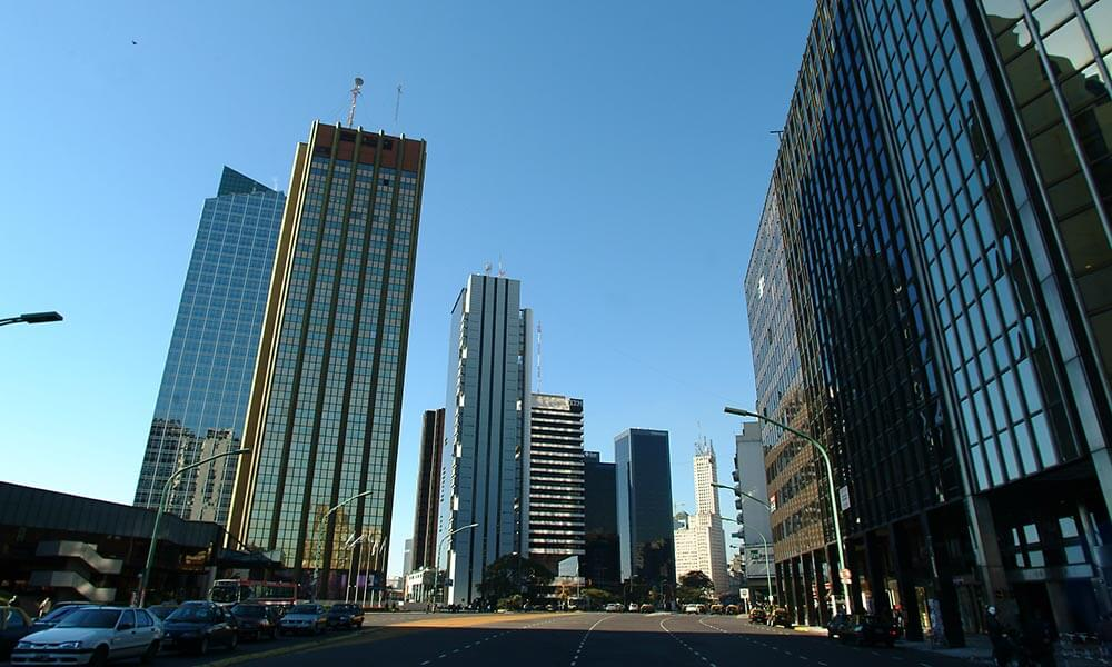 Modern office buildings on the Avenue Liberatadores in Buenos Aires, Argentina
