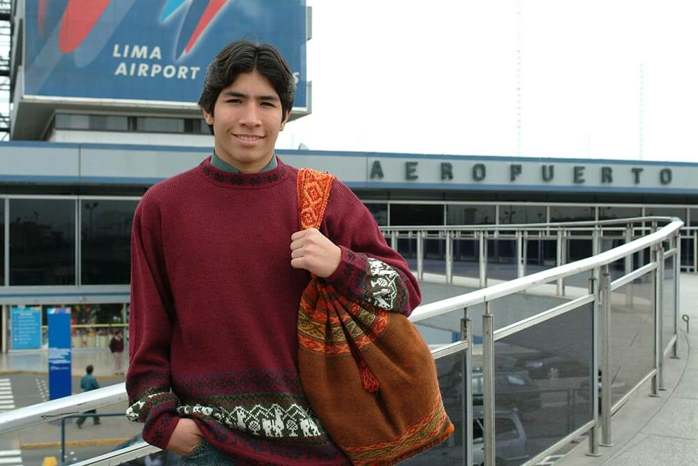 Teenage boy in airport, Lima, Peru