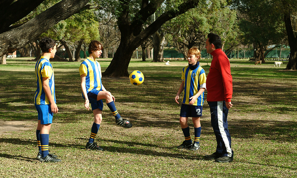 Argentinian teens practicing soccer