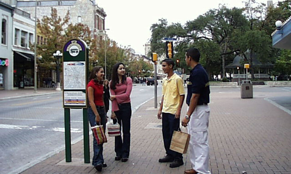 Hispanic teens on San Antonio street