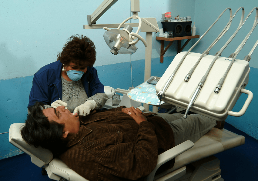 Peruvian dentist and patient